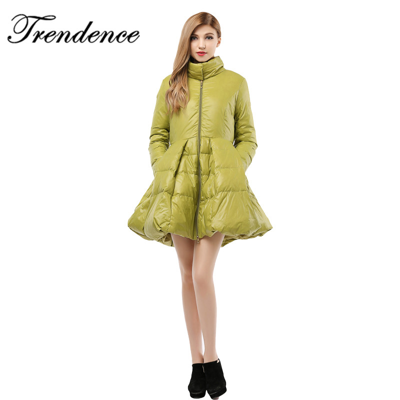 S-XXL plus size Korean black yellow coats solid long skirt white duck women thick female wd3000
