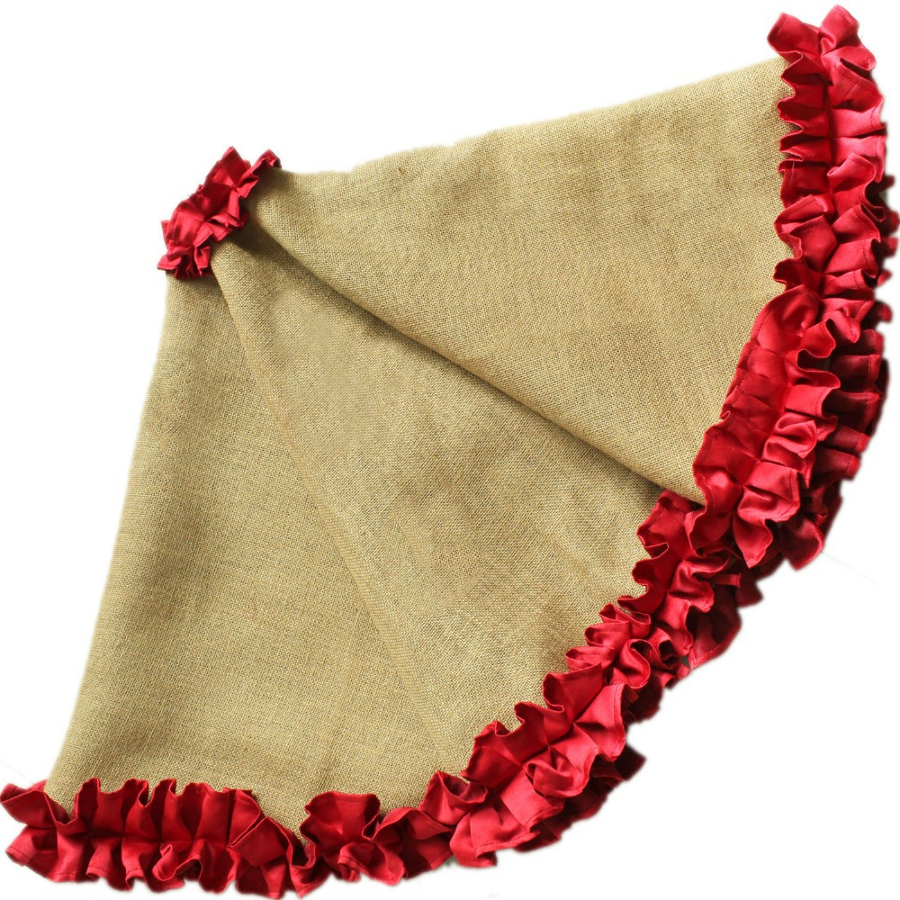 Cottage ruffler border burlap christmas tree skirt extra