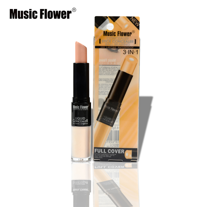 Music Flower 3Colors Liquid Concealer Stick Mineral Foundation Flawless Long-wearing Waterproof 3 In 1 Full Cover Cream(China (Mainland))