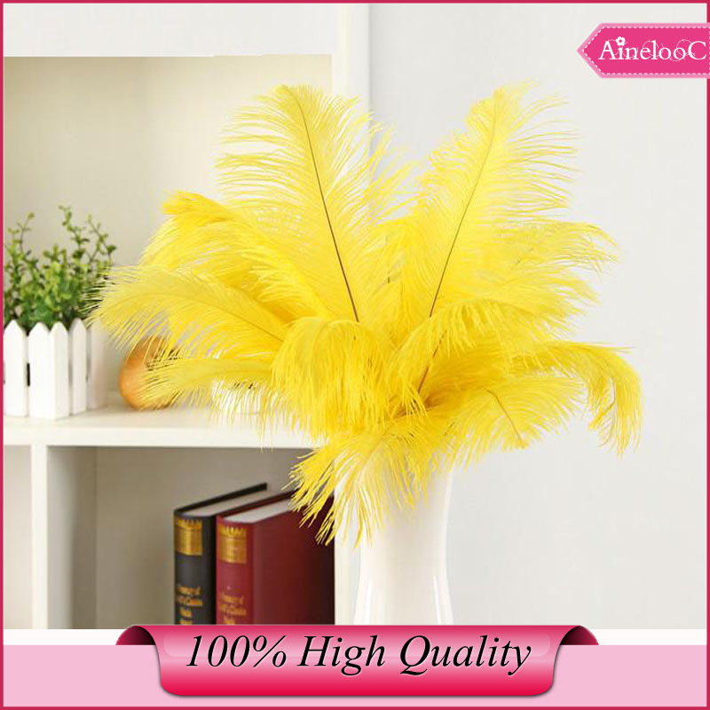 Wholesale 100pcs 30-35cm 12-14inch yellow ostrich feathers Plume party dress for wedding(China (Mainland))