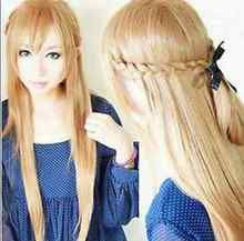 & heat resistant LY >>>Hot ! Sword Art Online Asuna Yuuki light golden brown knit 80CM long cosplay wig 5.24 - RuiYong Bi's store