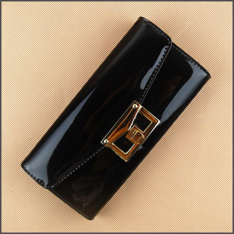 Korean Style Lady's Long Wallet D102 PU Patent Leather Purse Black Blue And Orange(China (Mainland))