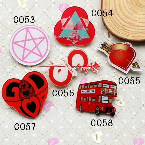 Acrylic Broche Customize Hot-selling HARAJUKU Brooches Bus/Heart/ Star CC Brooch Pin Up Collar Tips Souvenir Epaulettes Channel(China (Mainland))