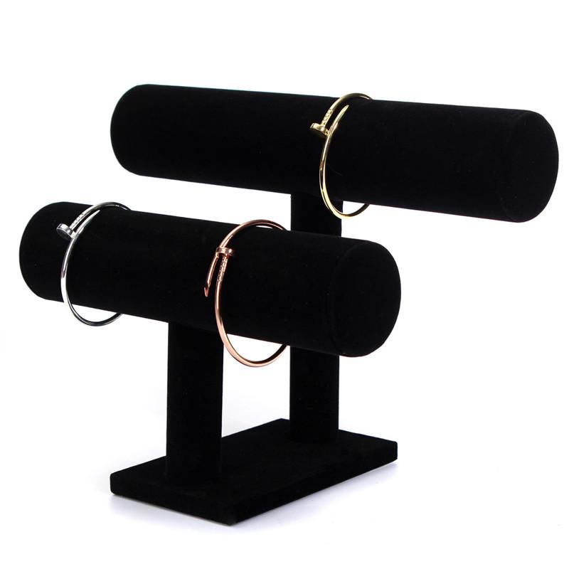 Гаджет  2015 New 2 Tier Black Velvet Bracelet Chain Watch T-Bar Rack Jewelry Organizer Hard Display Stand Holder Hot Sale None Ювелирные изделия и часы