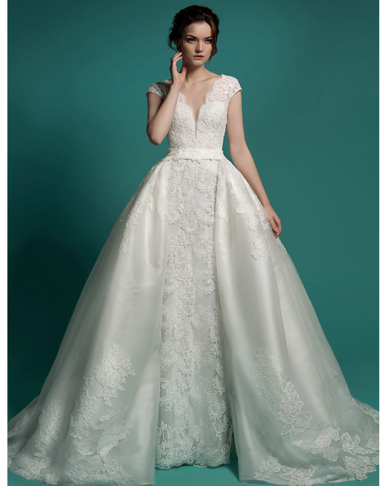 v neck cap sleeves wedding dresses with removable skirt
