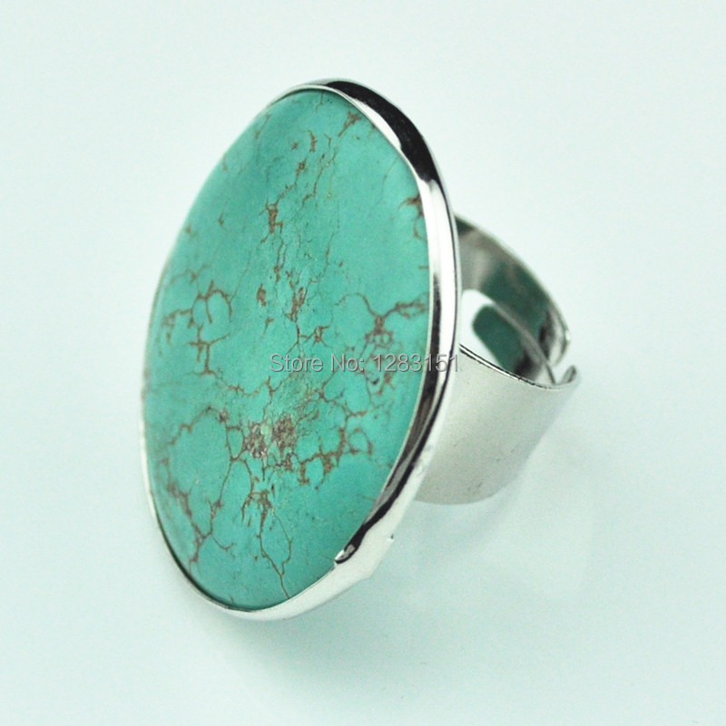min order 5 r122 adjustable turquoise ring 21g pc