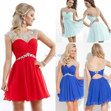 Free Shipping 2015 Sheer Illusion Neck Red White Cocktail Dress Short Prom Dresses Mint Blue Crystals cocktail party dress DS247(China (Mainland))