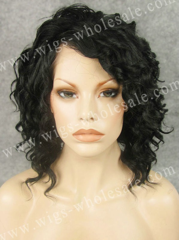 synthetic heat resistance lace front wigs black  short curly black  By DHL N17-1<br><br>Aliexpress