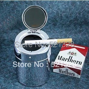 Stainless steel car Ashtray Quality Automatic Metal Ashtray Portable Ashtray with lid Free shipping cfx152(China (Mainland))