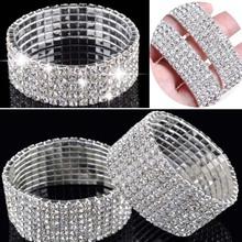 Hot  Fashion 4/5/8 Rows Crystal Rhinestone Wedding Bridal Bracelet Bangle Bling Wristband Women Jewelry Free SHip(China (Mainland))