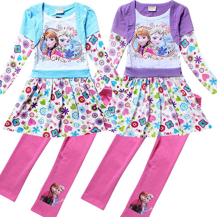 2015 autumn baby dress set clothing set