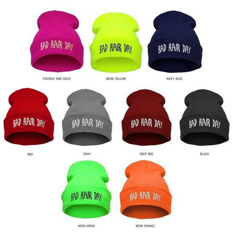 Bad Hair Day Beanie Knitted Hats for Men Ladies Skullies and Beanies Women Brand Name Winter Skully Hat Cap Chapeu Gorros M0321(China (Mainland))
