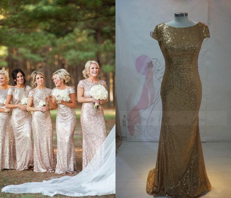 Cheap Gold Bridesmaid Dresses   New Cheap Wedding Dresses Gold Bridesmaid Dresses Sequin