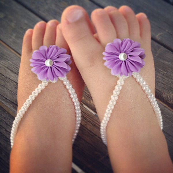 Lovely Newborn Baby Girls Flower Sandals Pearl Flower Foot Band Toe Rings Barefoot Sandals Anklets Kids Accessorie 1Pair(China (Mainland))
