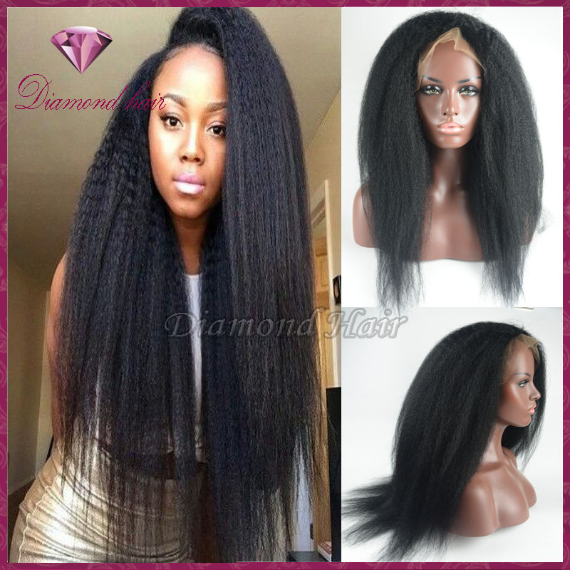 7A Chaep Italian Yaki Glueless Full Lace Human Hair Wigs Virgin Remy Human Hair Kinky Straight Lace Front Wig For Black Women(China (Mainland))