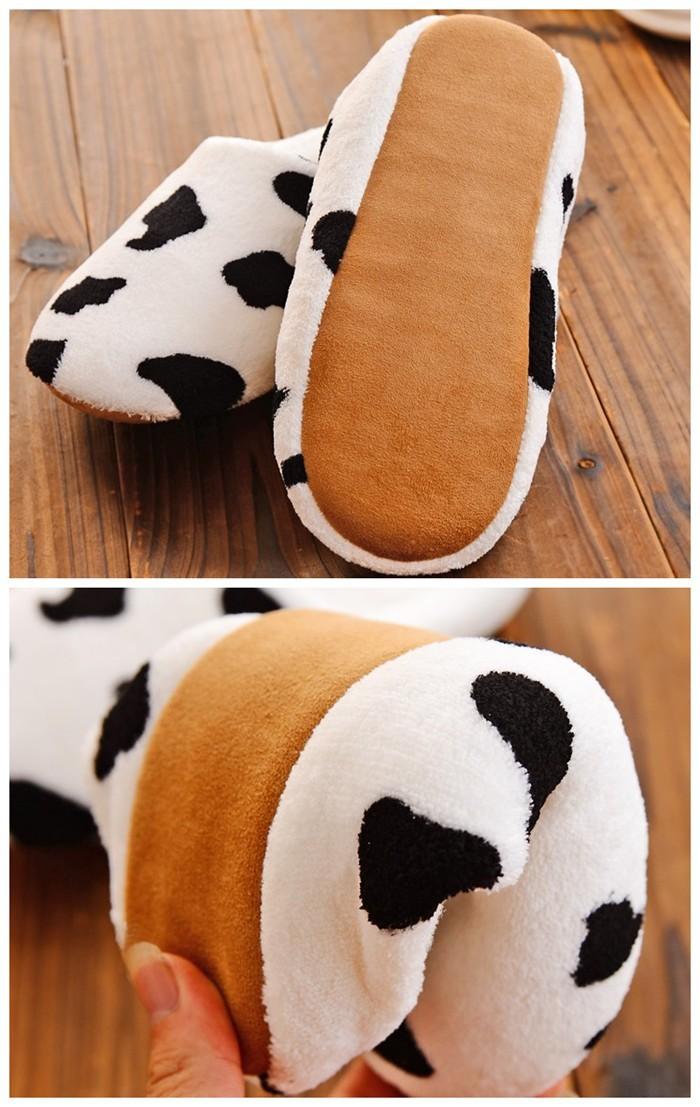 унисекс herbst und зимние milchkuh innen holzboden pantoffeln zu hause liebhaber warme pantoffeln weiche sohle damenschuhe
