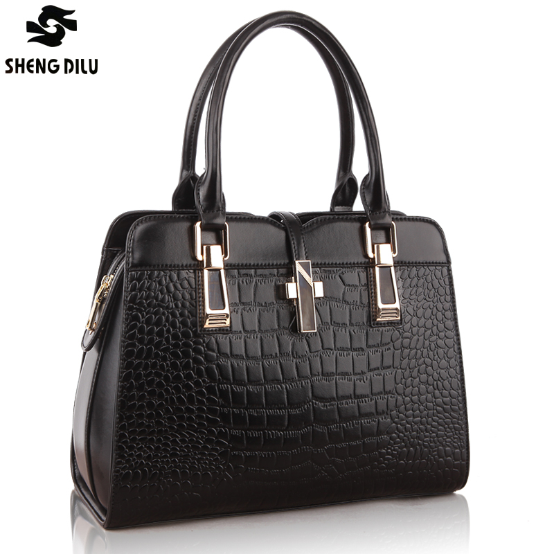 Фотография Hot Sale Shipping Free 100% Genuine Leather Handbag Crocodile Pattern Bag Women Handbag Tote Bag