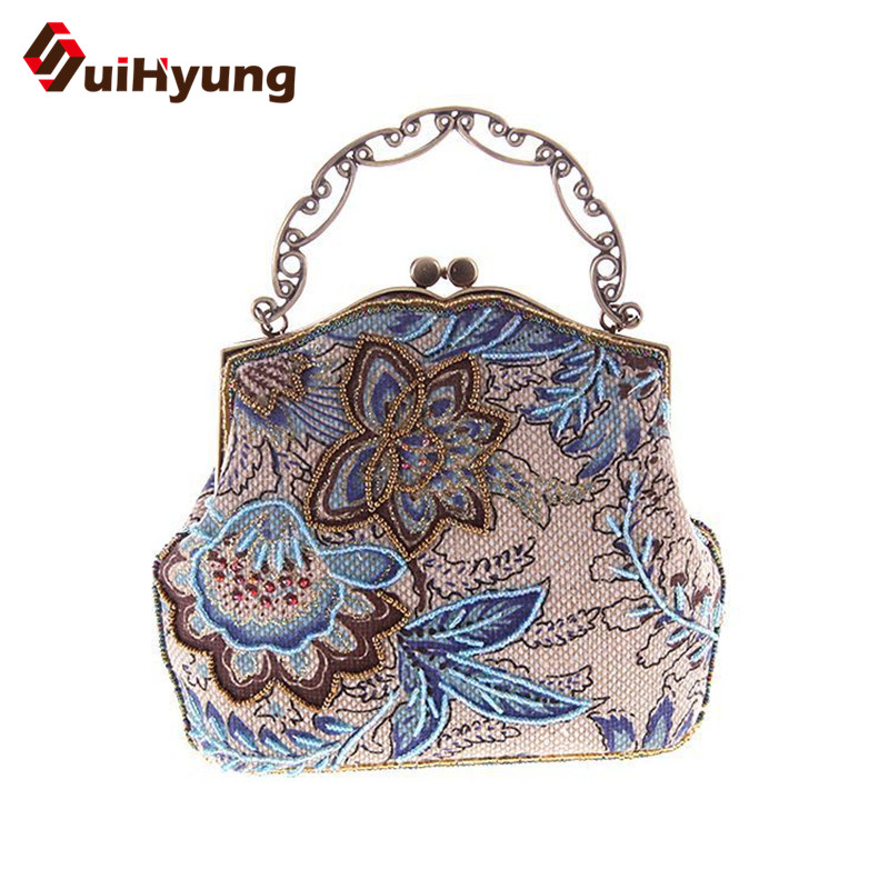 New Fashion Women Retro Embroidered Flowers Handbags & Crossbody Bags Quality Linen Beads Pearls Day Clutch Lady Evening Bag(China (Mainland))