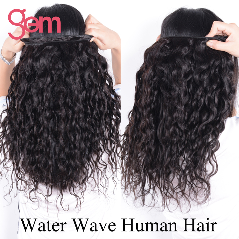 Indian Virgin Hair Water Wave Hair Bundles 100% Unprocessed Human Hair Extensions Gem Beauty Supply Hair Natural Black 1B Color