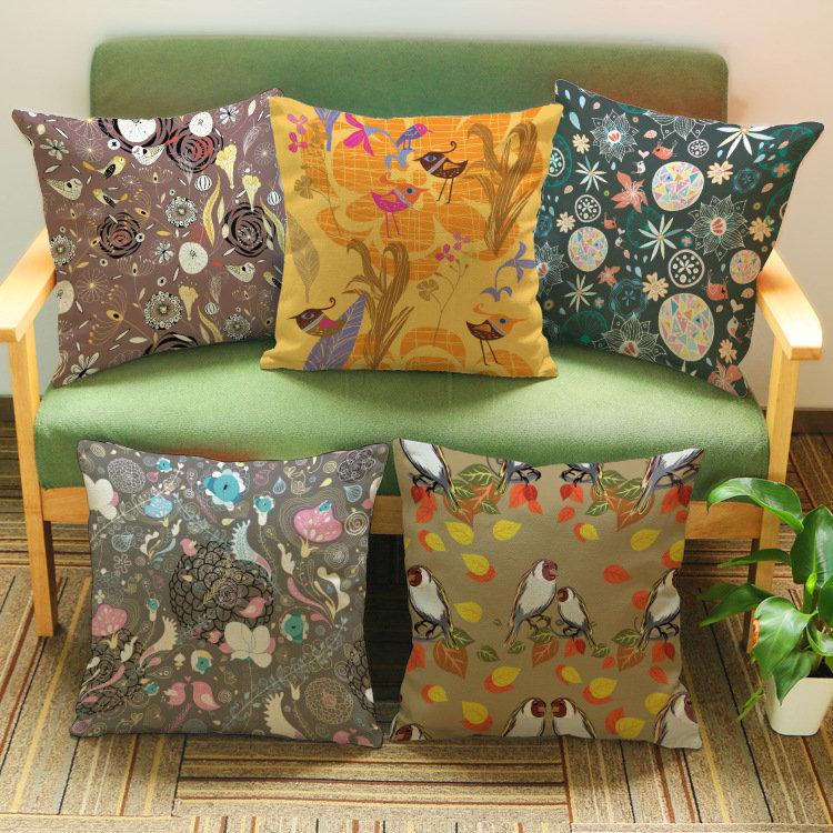 Retro love birds printing design Linen cotton pillow Wedding decoration hotels Clubhouse office sofa cushion(China (Mainland))