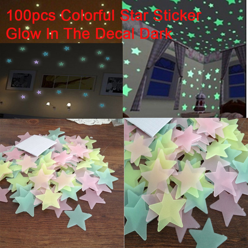 Hot !! 100pcs/lot Ceiling Glow In The Dark Stars Stickers Fluorescent Star Stickers Home Wall Decal Baby Kids Bedroom Sticker(China (Mainland))
