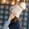 New Winter Wool Hat Knitted Hat Sphere Letter Labeling Thick Plush Hot Female Head Cap Sleeve