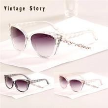 Vintage Story Cat Eye Diamond Leg 2014 New Style Wave Frame Sun glasses oculos de sol N402