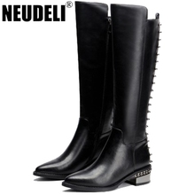 2016 New Fashion Sexy Women's winter boots Brand Designer Women genuine leather snow boots Europe Style Long motorcycle boot(China (Mainland))