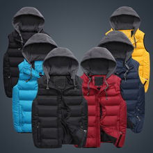 Winter 2015 new men's vest male Waistcoat casual detachable hooded vest jacket Men down sleeveless brand Outerwear & Coats Men(China (Mainland))