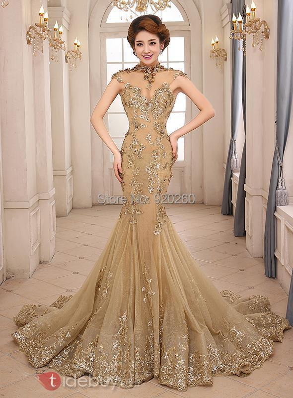 Luxury Gold Mermaid Wedding Dress High Neck Sheer Vestido de noiva ...