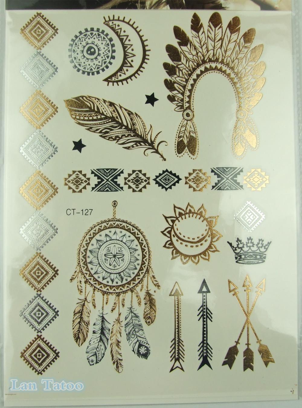 Indian feather jewelry sticker tattoo metallic tattos for Henna tattoo price
