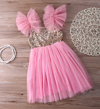 New Bling Pinks Princess Children Baby Girls Clothing Dress Party Tulle Tutu Sequined Ball Gown Fancy Dresses Girl 2-7Y