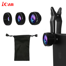 Buy ican Mini Clip-on Optic Cell Phone Camera Lens Kit 230 Degree Fisheye Lens + 110 Degree Wide Angle + 15x Macro Lens Phones for $15.29 in AliExpress store