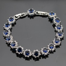 Flower Shaped White Topaz  Blue Sapphire Jewelry Sterling Silver Bracelets For Women Christmas Gift Free Jewelry Box B412(China (Mainland))