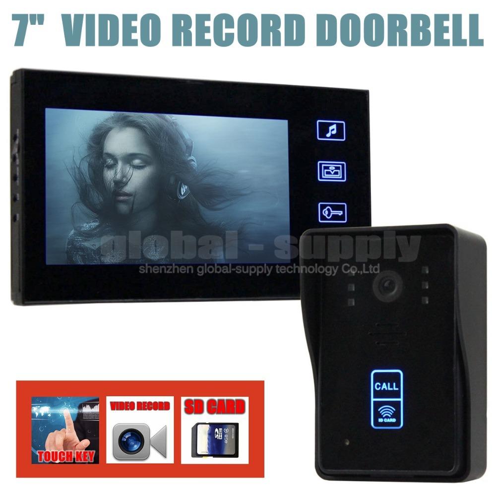Video Record 7 Inch Video Door Phone Intercom Doorbell Home Security Kit Touch Key Camera Monitor RFID Keyfobs SD Card(China (Mainland))
