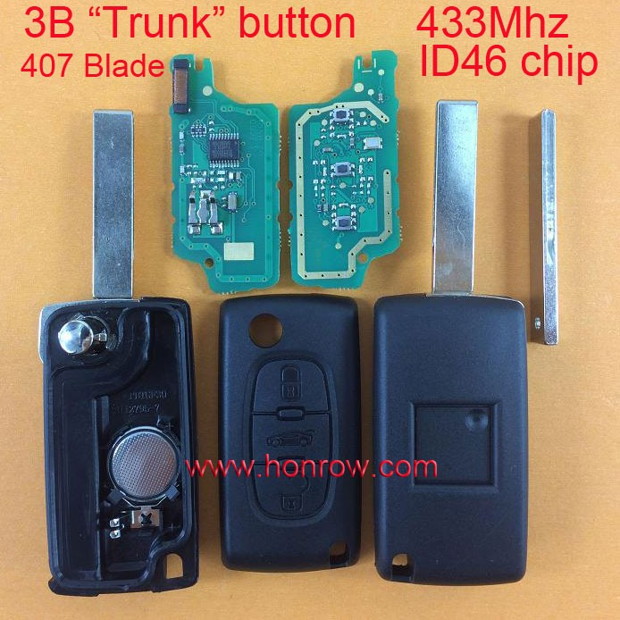 Citroen flip remote key 3 button with truck button 433mhz ID46 Chip HU83 407 Blade for Citroen C2 C3 C4 C5 C6 Car key