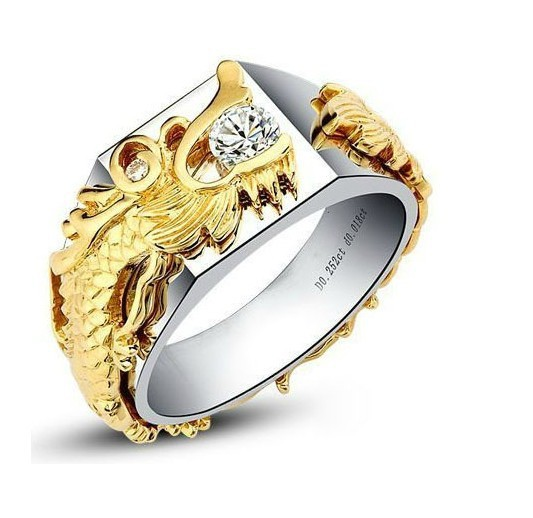 Solid Gold 14K Yellow Dragon Paved Man Jewelry 0.25CT Synthetic Diamond Male Ring Genuine 14K White Gold Engagement Husband Ring(China (Mainland))