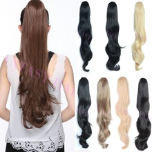 Long wavy blonde hairpiece fashionable women synthetic drawstring pony tails hair extensions heat resistant synthetic ponytail