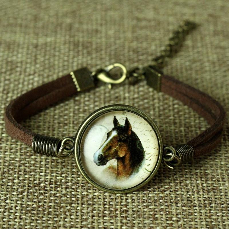 8 Styles Glass Galaxy Bracelets Leather Bracelet Animal Horse Cat Deer Bracelet Fashion Jewelry For Women Cute Jewellery Bijoux(China (Mainland))