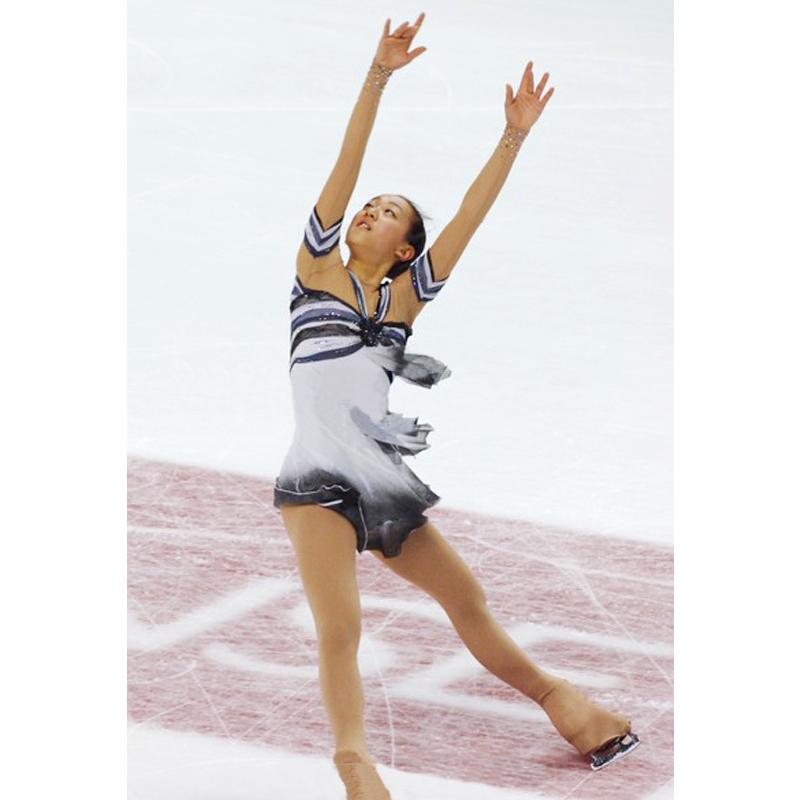 Customized Costume Ice Figure Skating Gymnastics Dress Competition Adult Child Girl Skirt Performance Check Stripes White Gray(China (Mainland))