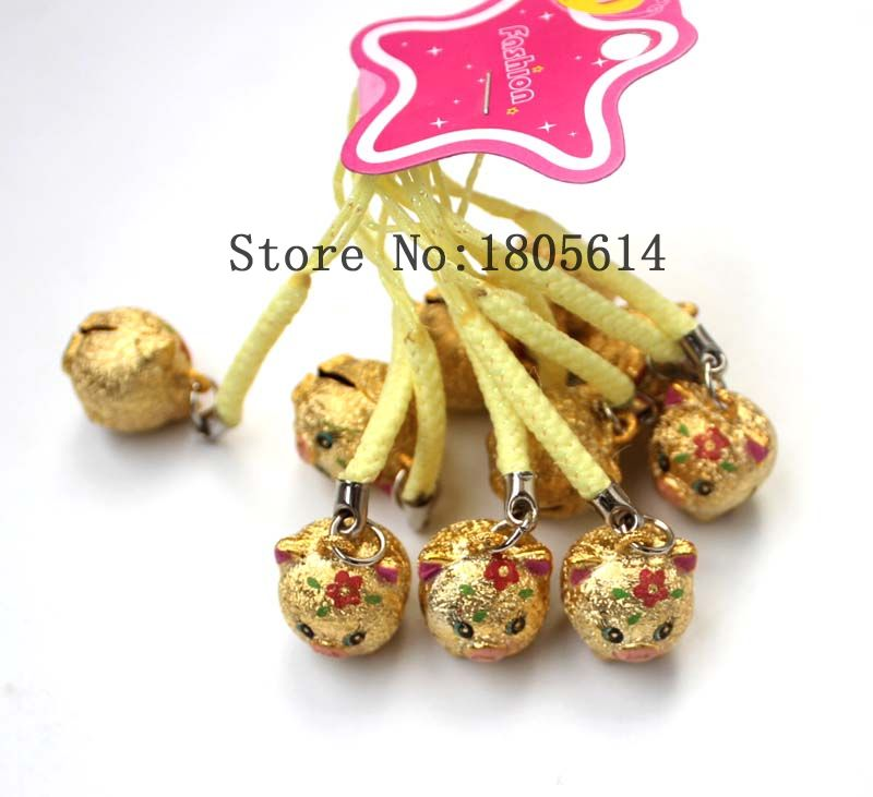 2016 New 500pcs phone Decoration Golden pig Copper Jingle Bells cute Bells lanyard Festival/Party Decoration Free Shipping(China (Mainland))