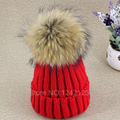 New parent child girl female cute spring autumn winter Knitted Hat Lady 13CM raccoon big fur