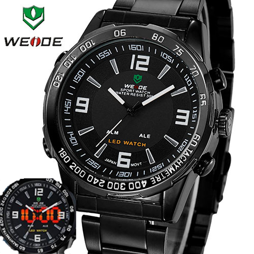 WEIDE Luxury Analog-digital LED Display Men's Sports Japan Quartz Wrist Military Watch New Sale Hot  #WH1009FBlack