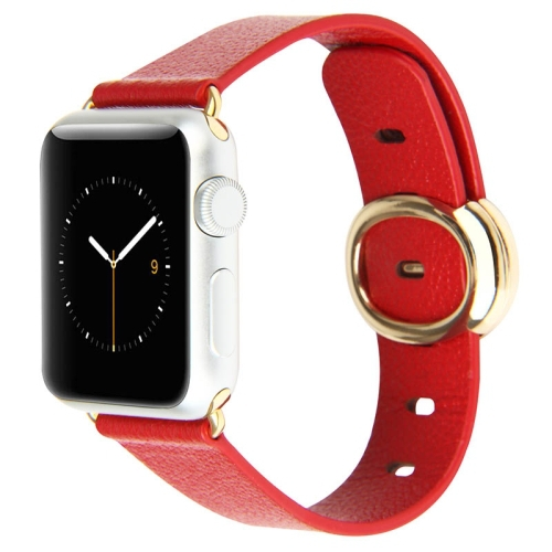 Red Band 38mm Baseus Modern Series Classic Buckle Genuine Leather Watchband for Apple Watch