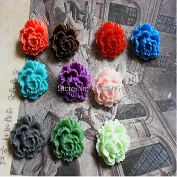 Mix 100pcs 16x17mm vintage resin beads flower cameo cabochon for bezel blank jewelry making(China (Mainland))