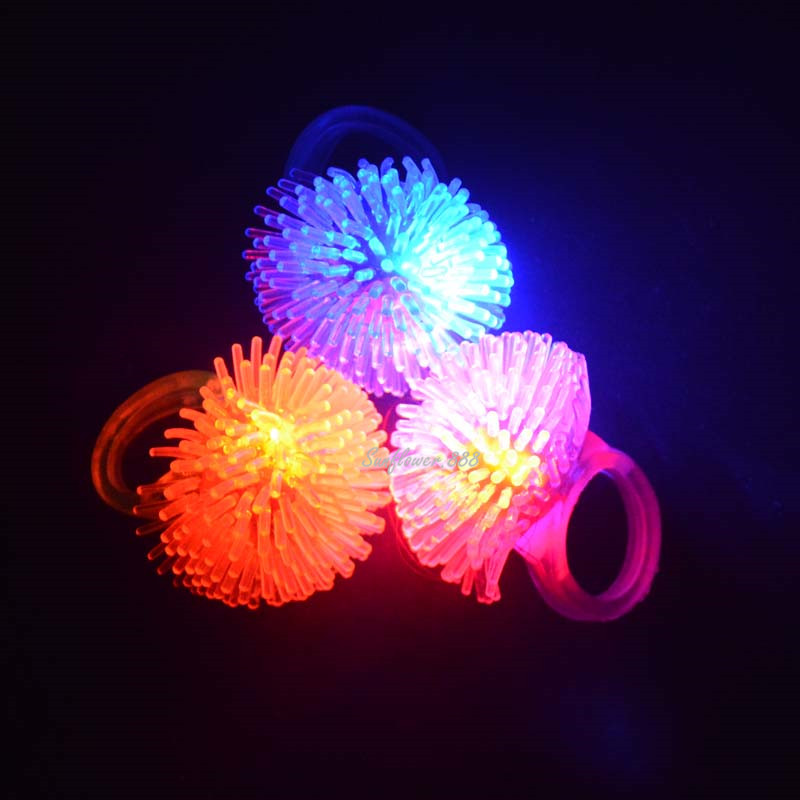 Fun Cool LED Flashing Light Finger Rings Blinking Party Soft Light Up Glow Jelly Rings New Year High Quality(China (Mainland))