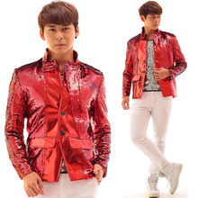 Buy Red Leather Sequins Rock Punk Men Jacket Dj Ds Male Singer Bar Nightclub Costume Slim Individuality Stage Wear for $120.70 in AliExpress store