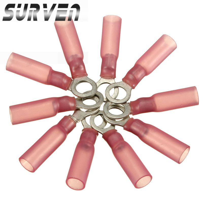 SURVEN Best Promotion 100PCS 5.3mm Ring Ground Pink Crimp Terminals Insulated Ring Connector 0.5-1.5mm 22-16AWG M5(China (Mainland))