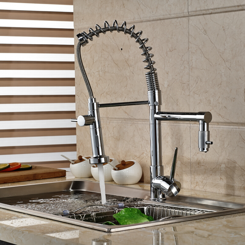 Здесь можно купить  Polished Chrome Dual Sprayer Kitchen Sink Faucet Single Handle Spring Pull Down Kitchen Mixer Tap Two Spout  Дом и Сад