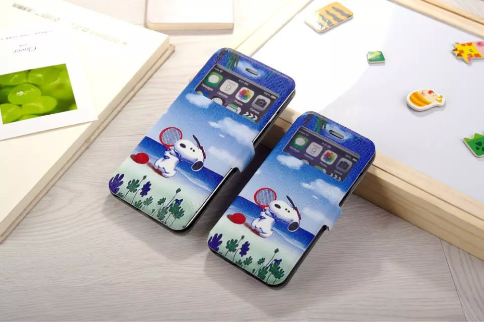playing snoopie wallet leather case for iphone 6/6plus.(4.7/5.5 inch)(China (Mainland))